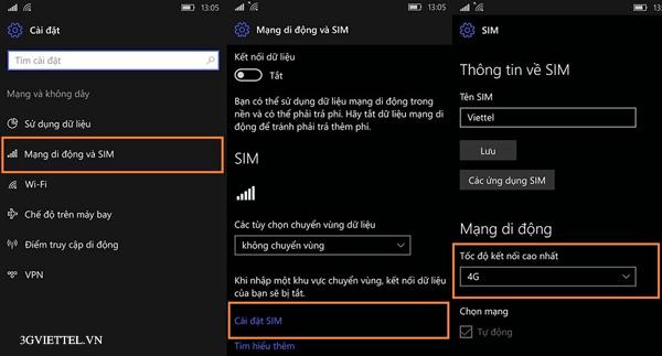 Làm thế nào để bật/tắt 4G Viettel trên điện thoại Nokia Lumia?