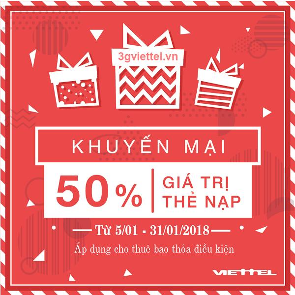 Ưu đãi 50% tiền nạp khi tham gia khuyến mãi của Viettel từ ngày 5/1 - 31/1