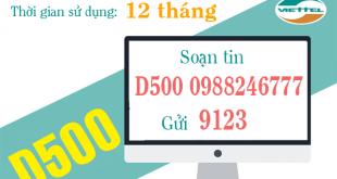 Hướng dẫn cách đăng ký gói cước D500 của Viettel