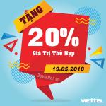 Chương trình khuyến mãi Viettel 19/5/2018 tặng 20% tiền nạp vào NGÀY VÀNG