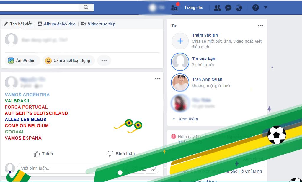 Cách kích hoạt hiệu ứng World Cup vui nhộn trên Facebook