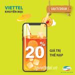 Khuyến mãi Viettel ngày 10/7/2018 ưu đãi ngày vàng cho 13 tỉnh/thành phố