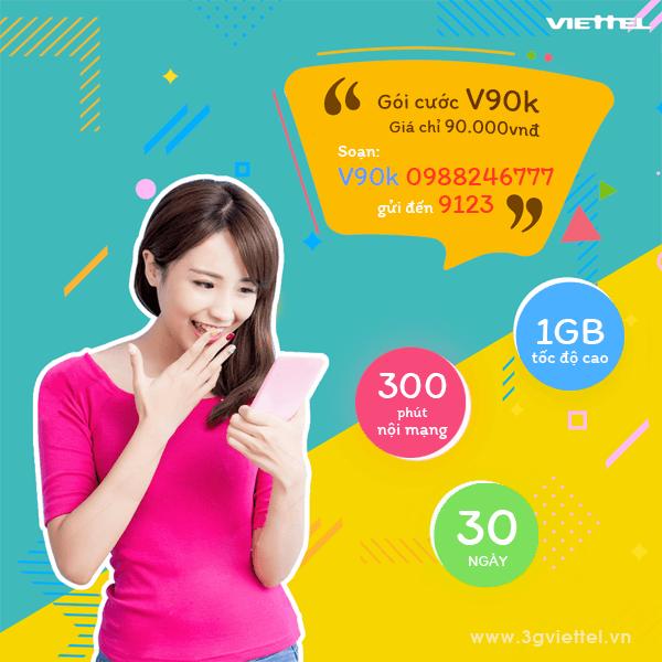 Hướng dẫn đăng ký gói V90K của Viettel