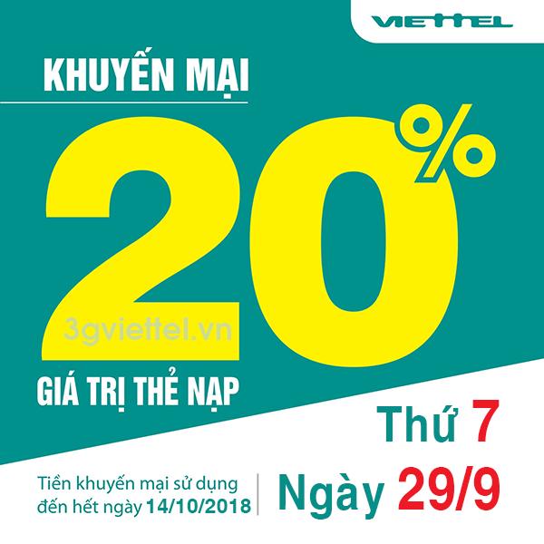 khuyến mãi Viettel ngày 29/9 ưu đãi 20% tiền nạp toàn quốc