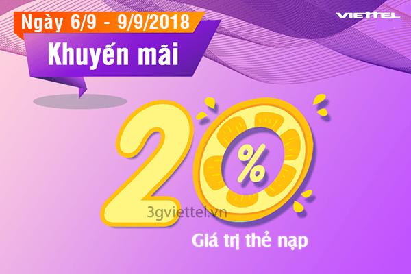 Ưu đãi 20% tiền nạp khi tham gia khuyến mãi Viettel từ 6/9 đến 9/9