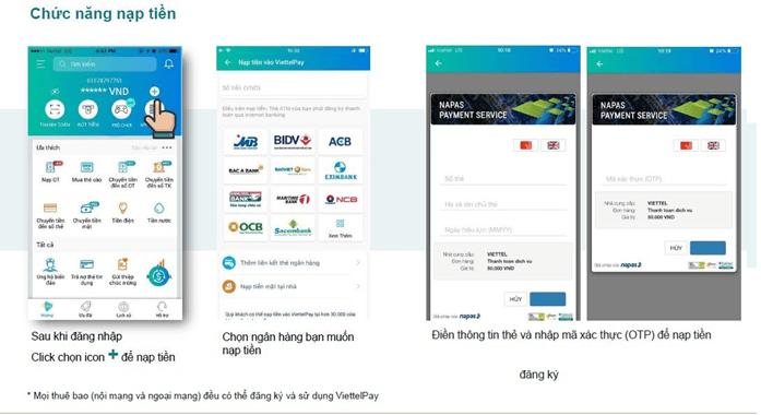 Hướng dẫn cách nạp tiền vào ứng dụng ViettelPay