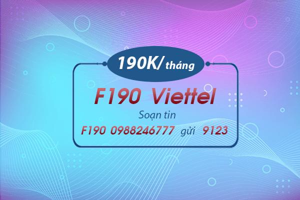 Hướng dẫn đăng ký gói cước F190 Viettel