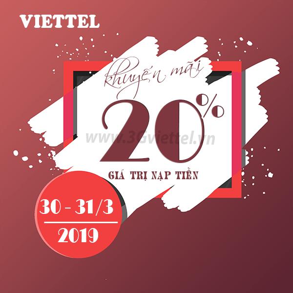 Khuyến mãi của Viettel ngày vàng 30/3 đến 31/3/2019