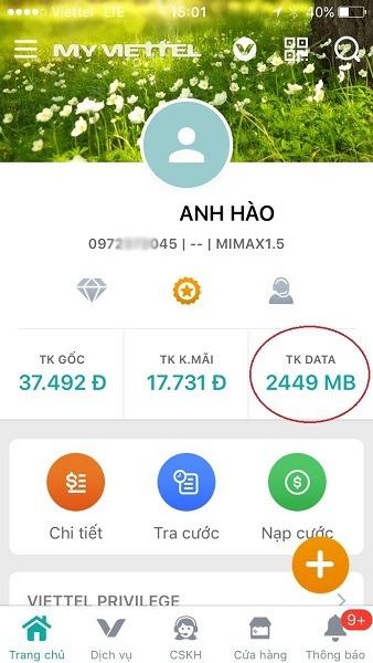Cách kiểm tra dung lượng 3G Viettel tốc độ cao