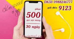 Hướng dẫn đăng ký gói cước gọi thoại nội mạng DK50 Viettel