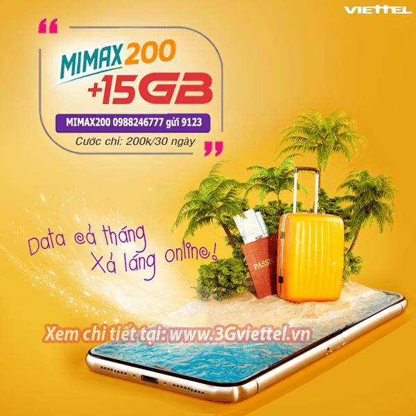 Ưu đãi 15GB data tốc độ cao chỉ 200k/tháng khi đăng ký MIMAX200 Viettel