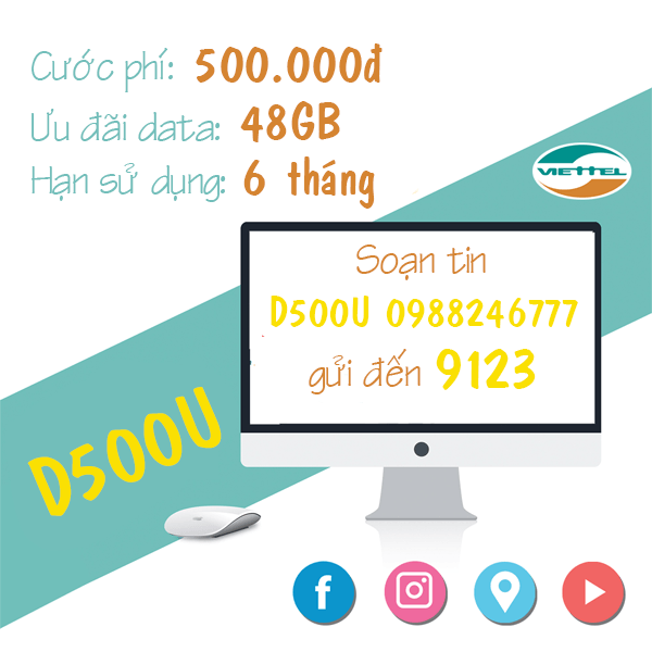 Hướng dẫn cách đăng ký gói cước D500U Viettel