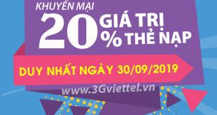 Thông tin chi tiết chương trình khuyến mãi Viettel ngày 30/9/2019