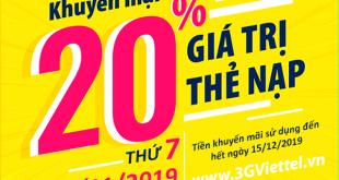 Viettel khuyến mãi ngày 30/11/2019 ưu đãi ngày vàng toàn quốc