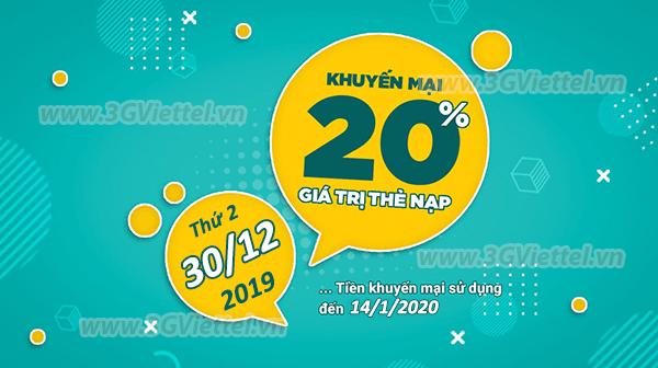 Ưu đãi 20% giá trị tiền nạp bất kỳ khi tham gia khuyến mãi của Viettel ngày 30/12