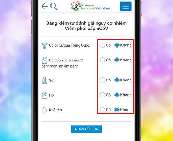 Cách tự đánh giá nguy cơ lây nhiễm Corona trên ứng dụng Sức Khỏe Việt Nam