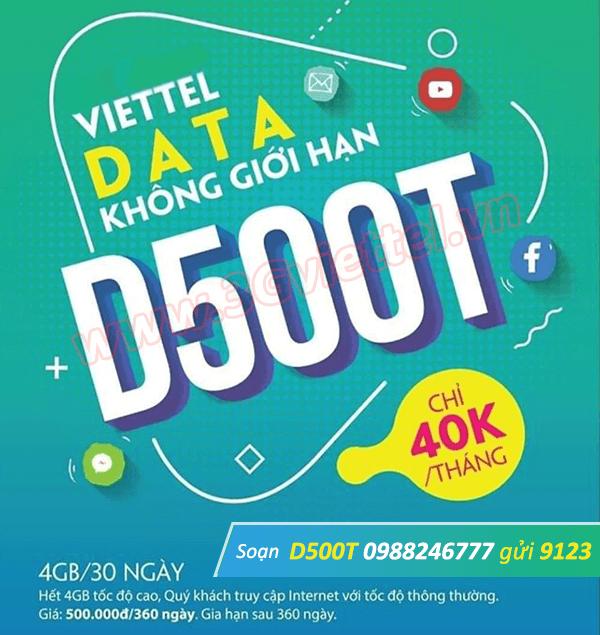 Hướng dẫn cách đăng ký gói cước D500T Viettel