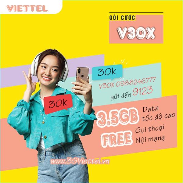 Hướng dẫn cách đăng ký gói cước V30X Viettel