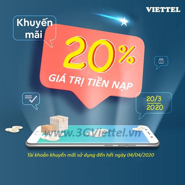 Viettel khuyến mãi ngày 20/3/2020 ưu đãi ngày vàng toàn quốc