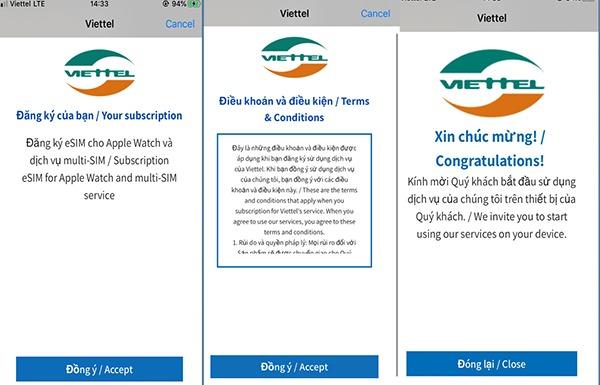Cách đăng ký kích hoạt dịch vụ Esim Viettel cho Apple Watch