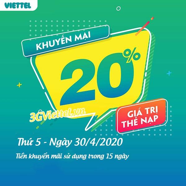 Viettel khuyến mãi ngày 30/4/2020 ưu đãi ngày vàng toàn quốc