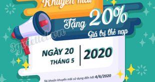 Viettel khuyến mãi ngày 20/5/2020 ưu đãi cho tất cả thuê bao trả trước