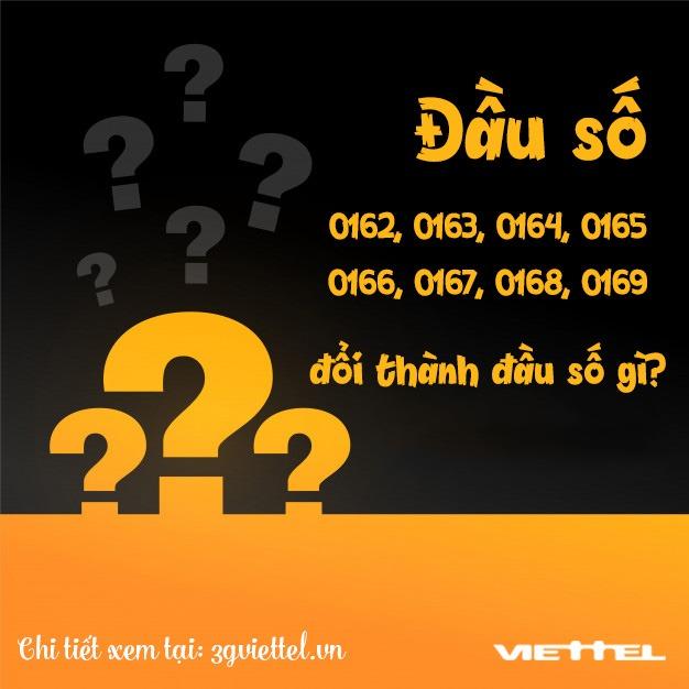 Đầu số 0162,0163, 0164, 0165, 0166, 0167, 0168, 0169 đổi thành đầu số nào?
