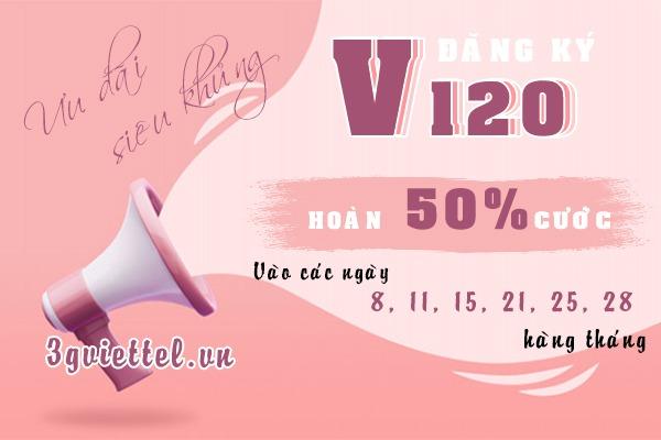 Khuyến mãi đăng ký V120 Viettel hoàn lại 60.000đ