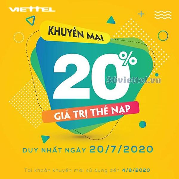 Chương trình khuyến mãi Viettel ngày 20/7/2020 trên toàn quốc