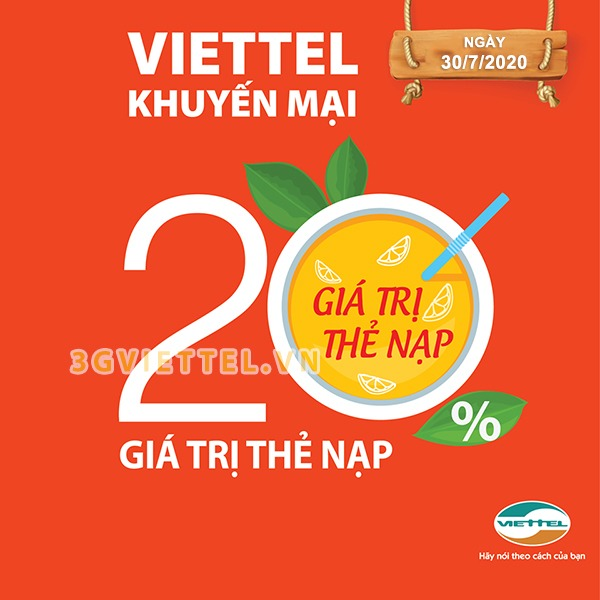 Viettel khuyến mãi ngày 30/7/2020 ưu đãi ngày vàng toàn quốc