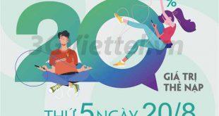 Viettel khuyến mãi ngày 20/8/2020 ưu đãi ngày vàng toàn quốc
