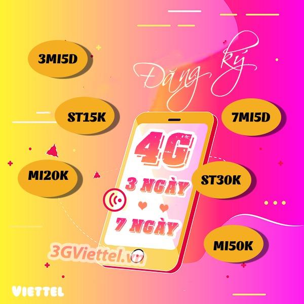 Đăng ký gói cước 4G Viettel 3 ngày, 7 ngày (tuần) giá rẻ ưu đãi khủng