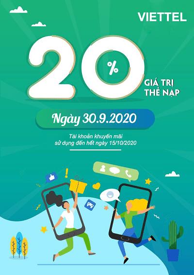 Thông tin chi tiết về chương Viettel khuyến mãi ngày 30/9/2020