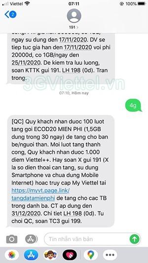 Cách nhận 100 lượt tặng 1.5GB data 4G Viettel miễn phí