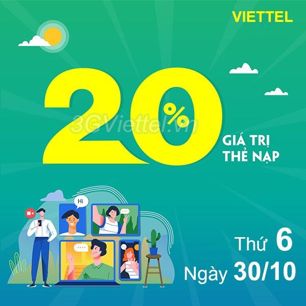 Thông tin chi tiết chương trình khuyến mãi Viettel ngày 30/10/2020