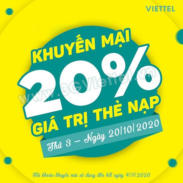 Viettel khuyến mãi ngày 20/10/2020 ưu đãi ngày vàng toàn quốc