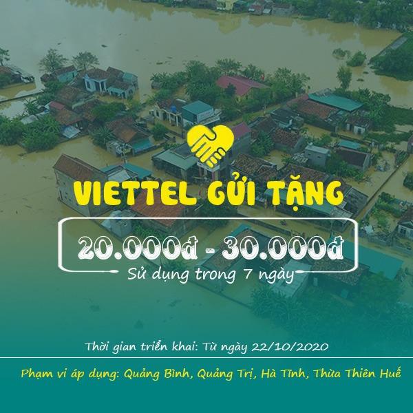 Viettel gửi tặng 20k - 30k miễn phí cho TB vùng bão lũ