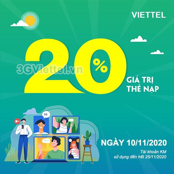 Thông tin chương trình Viettel khuyến mãi ngày 10/11/2020
