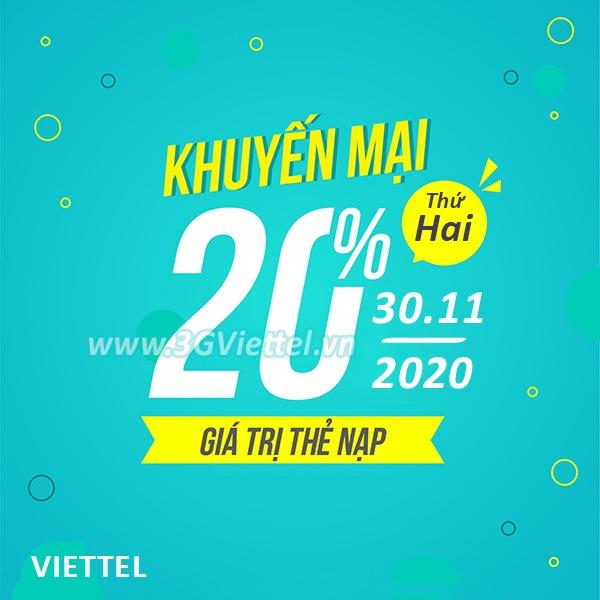 Viettel khuyến mãi ngày 30/11/2020 ưu đãi 20% tiền nạp cho TB trả trước