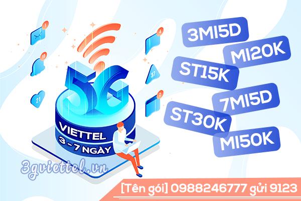 Cách đăng ký gói cước 5G Viettel chu kỳ 3 ngày, chu kỳ 7 ngày ưu đãi data khủng
