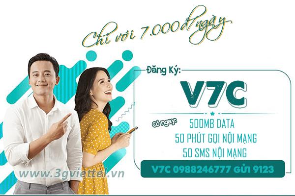 Đăng ký gói cước V7C Viettel nhận data, gọi thoại, SMS miễn phí cả ngày