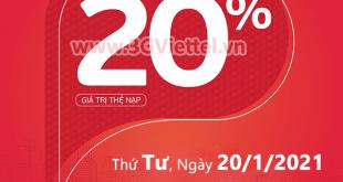 Viettel khuyến mãi ngày 20/1/2021 ưu đãi cho tất cả TB trả trước