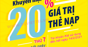 Viettel khuyến mãi ngày 30/1/2021 ưu đãi 20% tiền nạp cho thuê bao trả trước