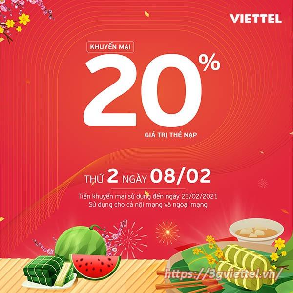 Khuyến mãi Viettel ngày 8/2/2021 ưu đãi 20% giá trị tiền nạp bất kỳ
