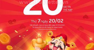 Viettel khuyến mãi ngày 20/2/2021 ưu đãi 20% giá trị tiền nạp bất kỳ