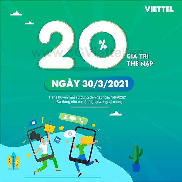 Khuyến mãi Viettel ngày 30/3/2021 ưu đãi vàng toàn quốc
