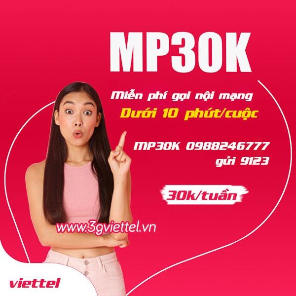 Đăng ký gói cước MP30K Viettel gọi Free thả ga 7 ngày