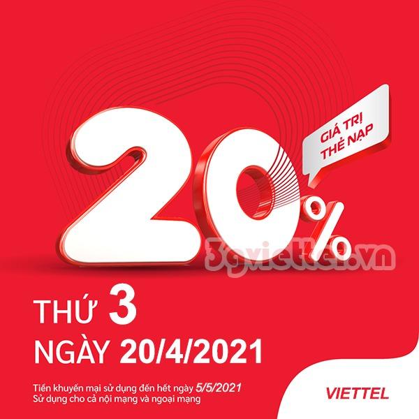 Khuyến mãi Viettel 20/4/2021 ưu đãi NGÀY VÀNG cho tb trả trước