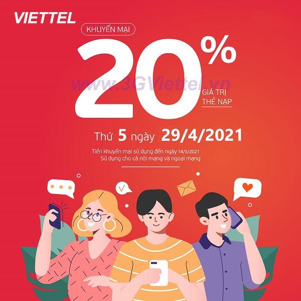 Viettel khuyến mãi ngày 29/4/2021 ưu đãi 20% tiền nạp ngày vàng