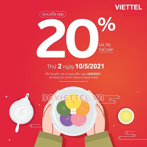 Khuyến mãi Viettel ngày 10/5/2021 ưu đãi 20% giá trị tiền nạp bất kỳ